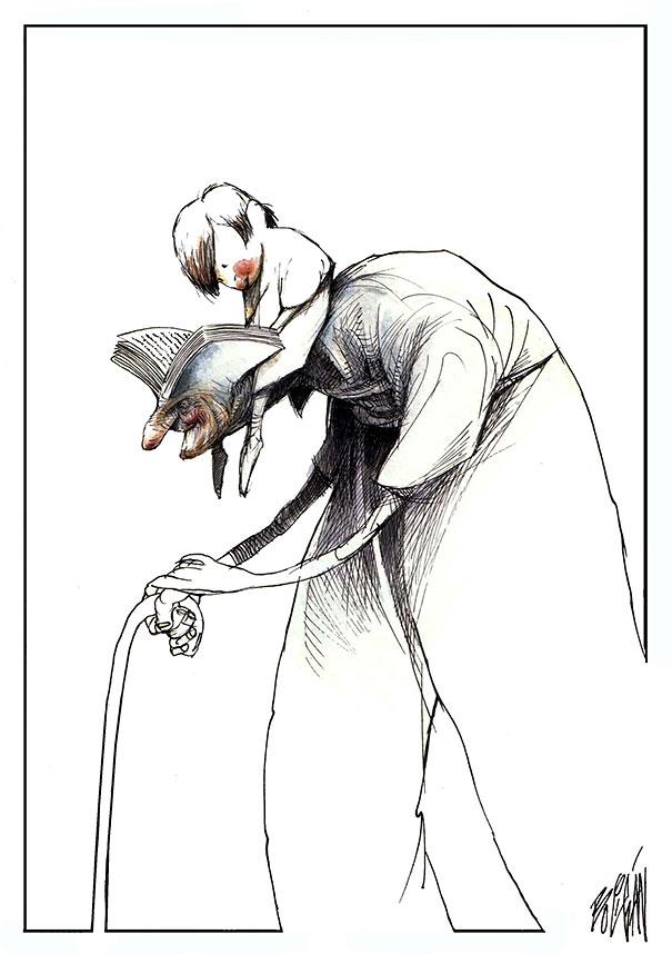Angel Boligan surrealisticke karikatury 14