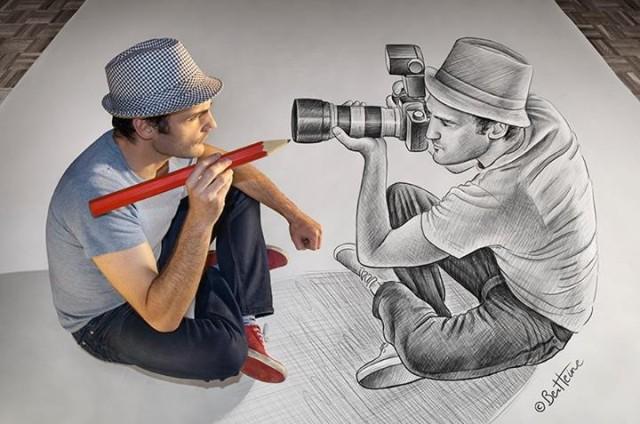 ben heine fotoaparat vs ceruzka 22