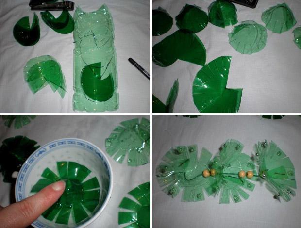 Vianočné ozdôbky - stromčeky vyrobené z PET fliaš