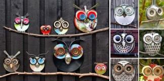 Dekoračné sovy vyrobené z odpadkov | Dekorácia do záhrady