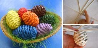 Pletené veľkonočné vajíčka z papiera | Papierové pletenie
