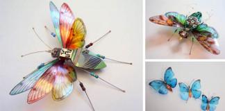 Okrídlený hmyz vyrobený zo starých počítačových komponentov