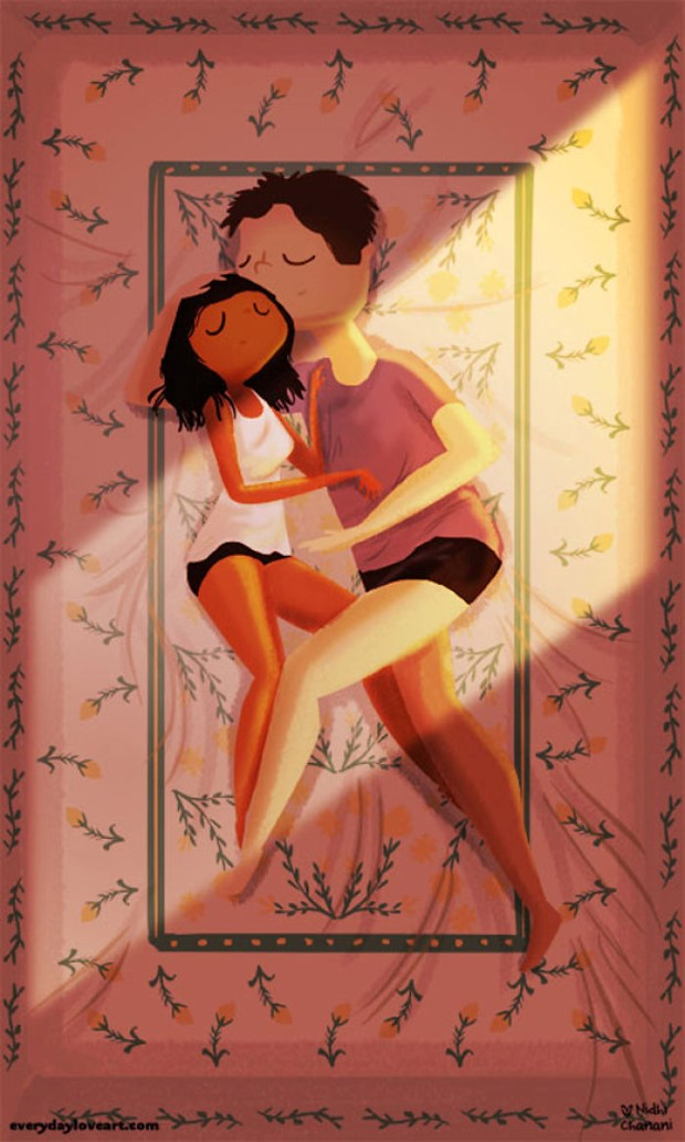 Illustration of couple cuddling in bed in summer heat