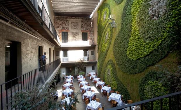 Reštaurácia s krásnou vertikálnou záhradou a bicyklom na nej 2