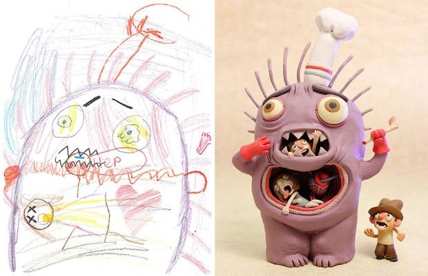 The Monster Project detské kresby dostavaju vdaka umelcom novy rozmer 2