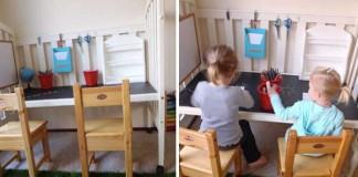 Kreatívny nápad na stôl pre deti vyrobený z detskej postieľky
