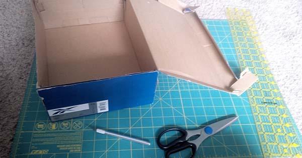 Organizér z krabice od topánok kreativita.info DIY nápad s návodom
