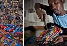 Hračky vyrobené zo starých žabiek   Ocean Sole Kenya