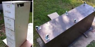 Kovová kartotéka so zásuvkami premenená na exteriérový kvetináč