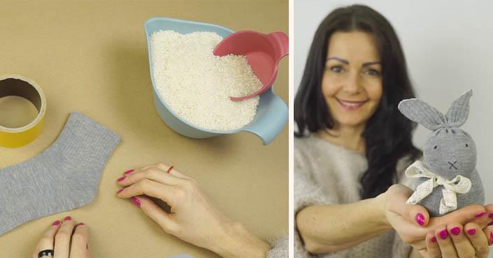 Ponožkový zajko, ktorého nemusíte šiť | DIY nápad a návod