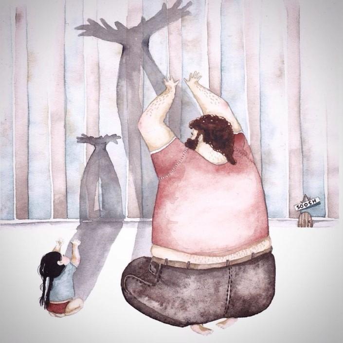 Snezhana Soosh ilustracie vztahu otca a dcery 10