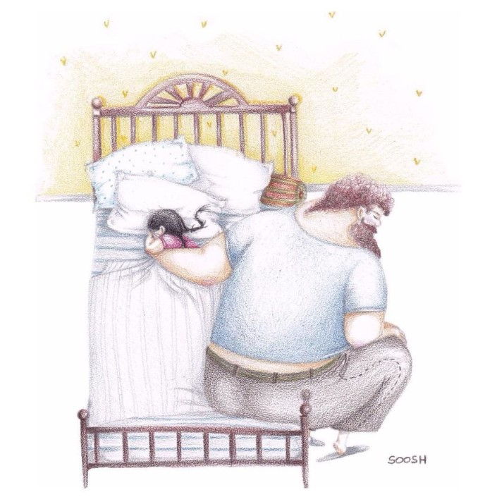 Snezhana Soosh ilustracie vztahu otca a dcery 14