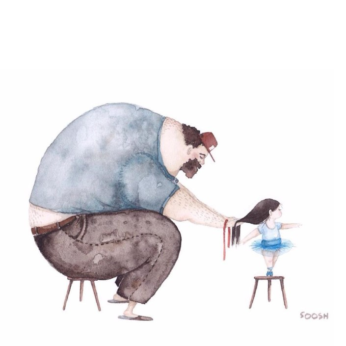 Snezhana Soosh ilustracie vztahu otca a dcery 2