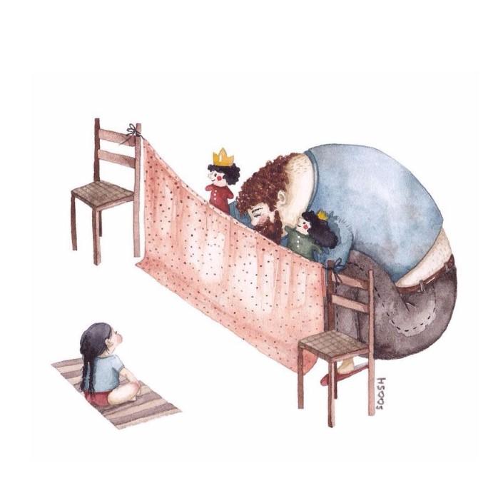 Snezhana Soosh ilustracie vztahu otca a dcery 7