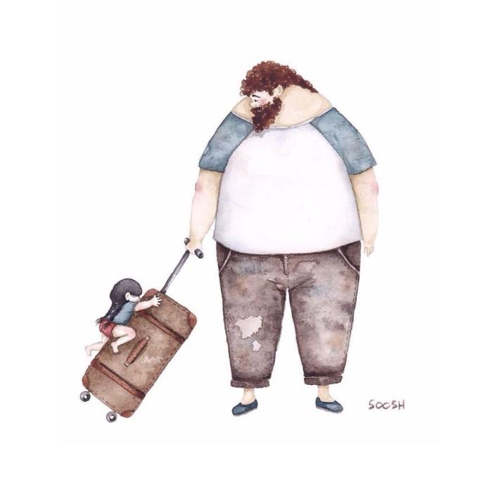 Snezhana Soosh ilustracie vztahu otca a dcery 8