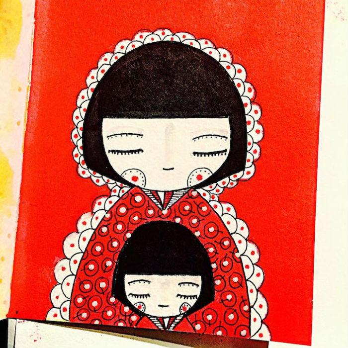 matka malej gaby kresli obrazky o mamach a ich detoch