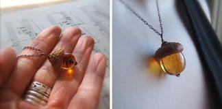 Jesenné šperky zo skla a skutočnej čiapočky žaluďa | Bullseye Beads