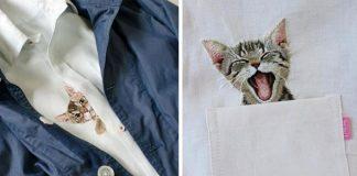 Výšivky mačiek na košeliach spod rúk japonskej umelkyne Hiroko Kubota