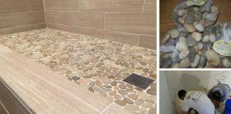 Dlažba z kamienkov v sprchovacom kúte | Kreatívny nápad a inšpirácie