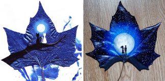 Maľby na opadané lístie spod rúk dvojice Kristi Botkoveli a Beka Zaridze