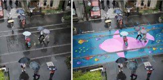 Pestré pouličné maľby sa objavia na uliciach len keď zaprší. WAU!