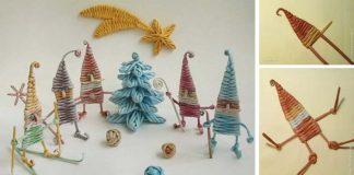 Vianoční trpaslíci upletení z papierových ruličiek | DIY nápad s návodom
