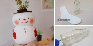 Snehuliak z fľaše a ponožky postráži farbičky alebo poslúži ako váza