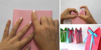 Balíčky na darčeky z farebného papiera a stuhy | DIY nápad s návodom