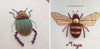 Zdobené vyšívky hmyzu | Handmade tvorba Humayrah Bing Altaf