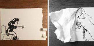 HuskMitNavn využíva šikovné 3D triky, aby priviedol svoje kresby k životu