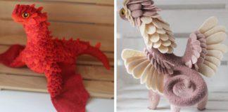 Plstení draci s rozložitými krídlami aj pestrými farbami | Alena Bobrova