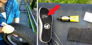 Oprava roztrhanej podrážky starou pneumatikou | Kreatívne riešenie