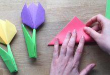 Origami tulipány alebo ako poskladať tulipány z farebného papiera | DIY návod
