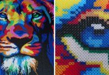 Portrét leva z korálok | Korálkový portrét od Claudiu Alexandru