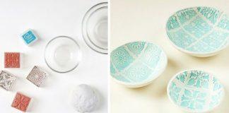 Keramické misky so vzorom vyrobené zo samoschnúcej hmoty | Návod