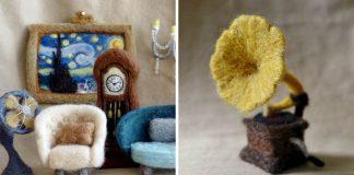 Plstený nábytok do domčekov pre bábiky | Plstené umenie rukami Winnie Chui
