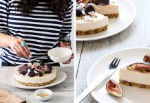 RAW cheesecake s kokosom, figami a pistáciami | Recept na nepečenú tortu