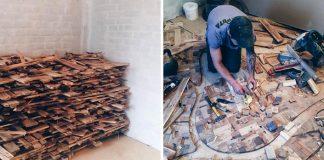 Podlaha s drevenou mozaikou z použitého dreva a keramiky | Alexey Steshak