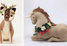 Biologička Floydine šije zvieratká z filcu | Handmade hračky