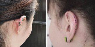 Tetovania na uchu | Nenápadné minimalistické motívy na okraji ucha