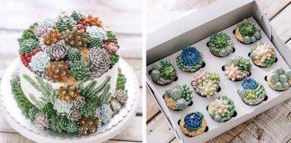 Torty a cupcaky pre milovníkov sukulentov | 15 sladkých inšpirácií