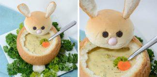 Chlebová miska v podobe zajka na hustú polievku alebo omáčku nielen na Veľkú Noc