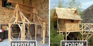 Zo starých drevených paliet postavil pre 5-ročnú neter palác na hranie