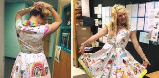 Učiteľka nechala žiakov, aby jej v posledný školský deň pokreslili šaty
