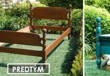 Záhradná vintage lavička zo starého rámu drevenej postele   DIY nábytok