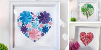 Obrazy z papierových srdiečok | Návod na jednoduchú dekoráciu na stenu