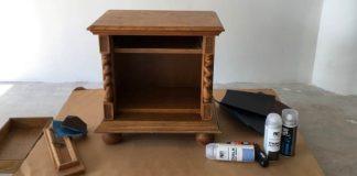 Renovácia nočného stolíka kriedovou farbou v spreji (Chalk Finish spray)