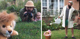 Podarené fotografie otecka a malej dcérky v rozkošných kostýmoch