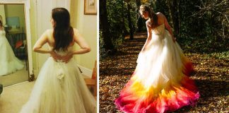 Svadobné šaty v žiarivých jesenných farbách v štýle ombré