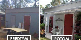 Premena starej 18-ročnej kôlne na krásny domček v shabby chic štýle